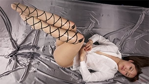 Ribbon Print Pantyhose Liquid Masturbation
