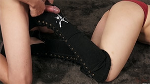 Cum on Black Suede Boots