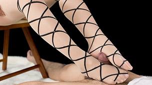 Ribbon Print Pantyhose Footjob
