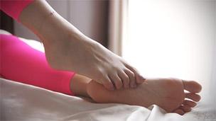 Pink Leggings Feet Closeup