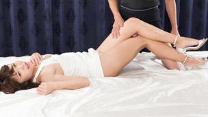 Leg Rub in White Dress