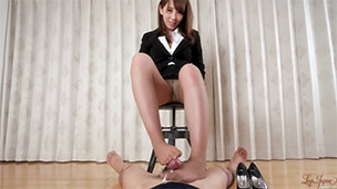 Office Girl Pantyhose Footjob