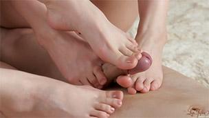 Double Nude Footjob